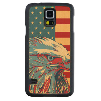 American Patriotic Eagle Flag Carved Maple Galaxy S5 Case