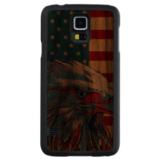 American Patriotic Eagle Flag Carved Walnut Galaxy S5 Case