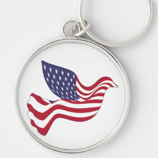 AMERICAN PEACE DOVE Silver-Colored ROUND KEY RING