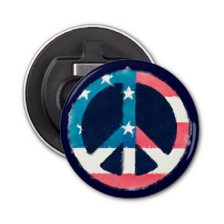 American Peace Sign grunge Bottle Opener