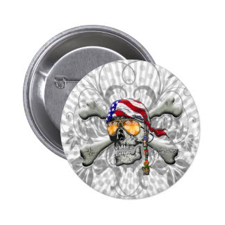 American Pirate Scull and Bones 6 Cm Round Badge