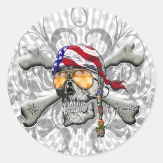 American Pirate Scull and Bones Round Stickers