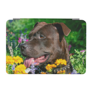 American Pit Bull in field of flowers iPad Mini Cover