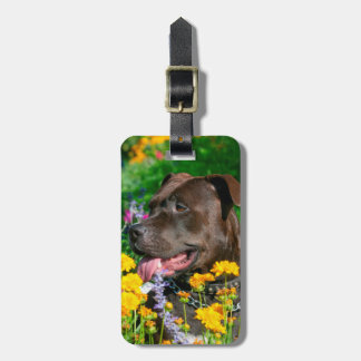 American Pit Bull in field of flowers Luggage Tag