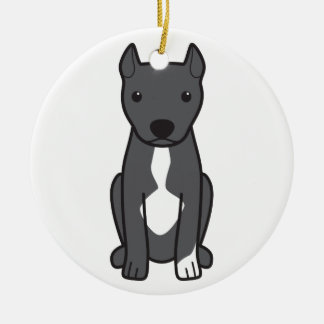 American Pit Bull Terrier (Cropped Ears) Christmas Ornament
