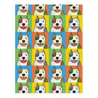 American Pit Bull Terrier Dog Cartoon Pop-Art Postcard