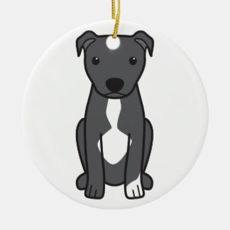 American Pit Bull Terrier (Natural Ears) Christmas Ornament