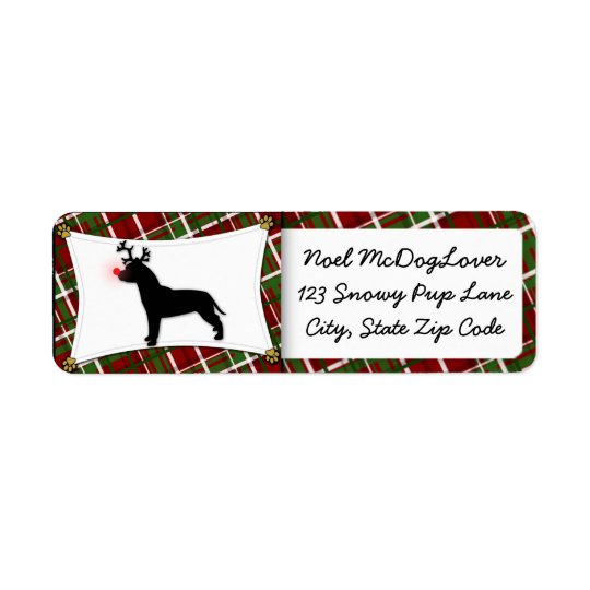 American Pit Bull Terrier Reindeer Christmas Return Address Label