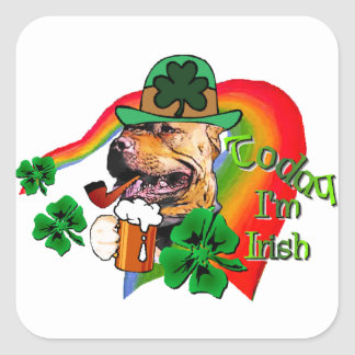 American Pit Bull Terrier St Patricks Square Sticker