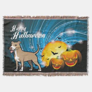 American Pitbull Terrier Happy Halloween Throw Blanket