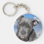 American Pitbull Terrier Puppy Dog Basic Round Button Key Ring