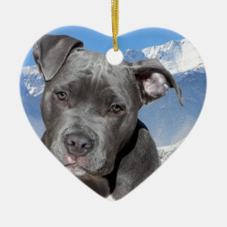 American Pitbull Terrier Puppy Dog Ceramic Heart Decoration