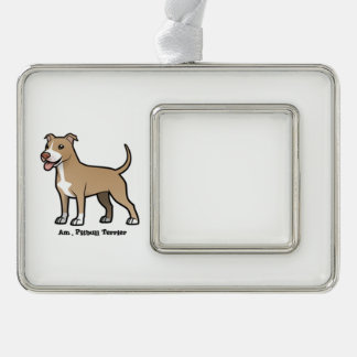 American Pitbull Terrier Silver Plated Framed Ornament