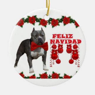 American Pitt bull Christmas Ceramic Ornament