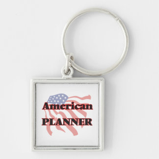 American Planner Silver-Colored Square Key Ring