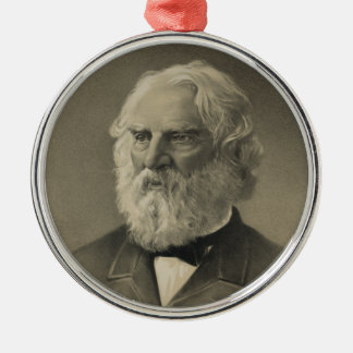 American Poet Henry Wadsworth Longfellow Portrait Silver-Colored Round Decoration