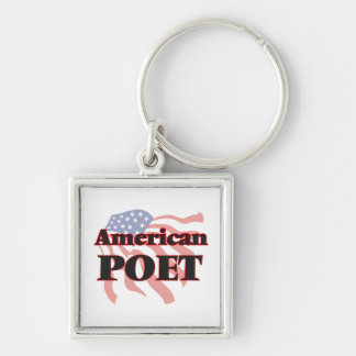 American Poet Silver-Colored Square Key Ring