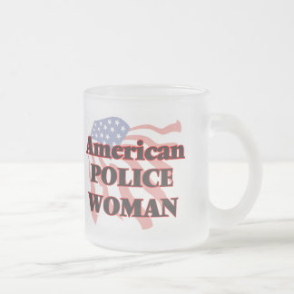 American Police Woman Frosted Glass Mug