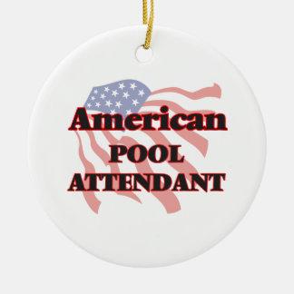 American Pool Attendant Round Ceramic Decoration