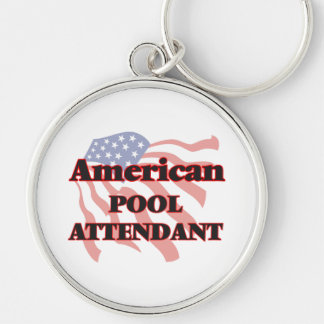 American Pool Attendant Silver-Colored Round Key Ring