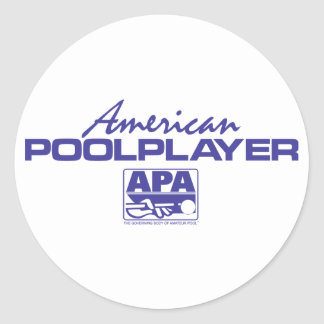 American Pool Player - Blue Round Sticker