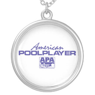 American Pool Player - Blue Silver Plated Necklace