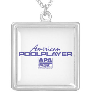 American Pool Player - Blue Square Pendant Necklace