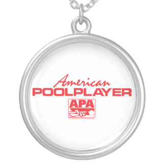 American Pool Player - Red Round Pendant Necklace