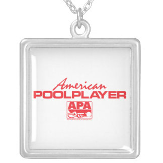 American Pool Player - Red Square Pendant Necklace