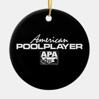 American Pool Player Round Ceramic Decoration