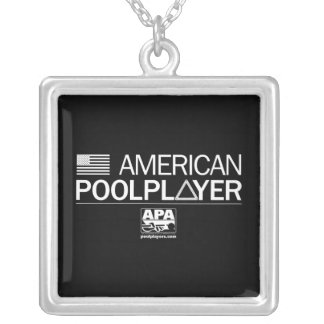 American Pool Player Square Pendant Necklace