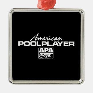 American Pool Player - White Silver-Colored Square Decoration
