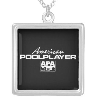 American Pool Player - White Square Pendant Necklace