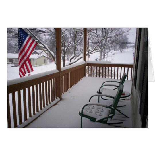 American Porch in Winter Card