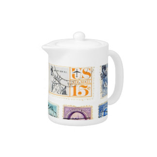 American Postage Stamps Tea Pot