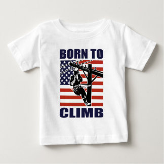 american power lineman electrician repairman pole baby T-Shirt