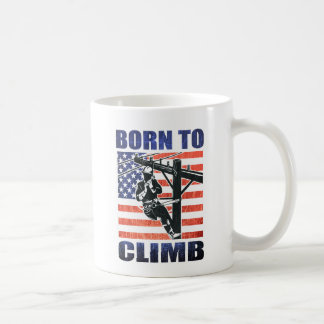 american power lineman electrician repairman pole coffee mug