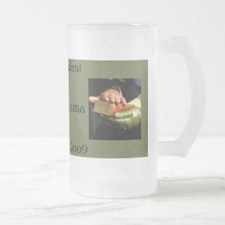 American President Barack Obama Frosted Glass Mug