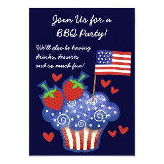 """American Pride Cupcake 4th of July BBQ Invitation 5"""" X 7"""" Invitation Card"""