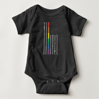 American Pride Flag Dark Baby Bodysuit