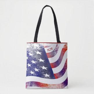 American Pride-Red Trim Tote Bag