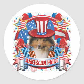 American Pride Sheltie Classic Round Sticker