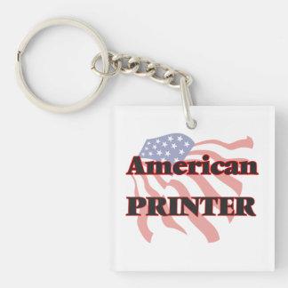 American Printer Single-Sided Square Acrylic Key Ring