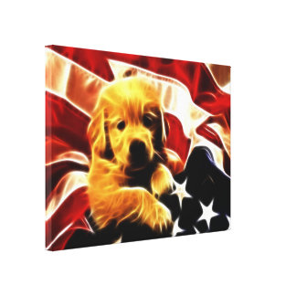 American Puppy Stretched Canvas Prints