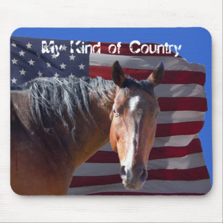 American Quarter Horse and Flag - Patriotic Mouse Pad