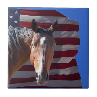 American Quarter Horse and Flag - Patriotic Small Square Tile