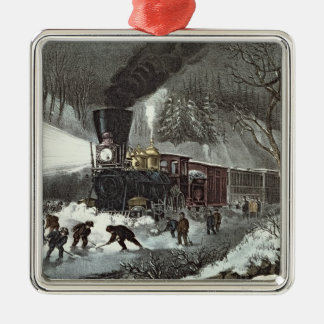 American Railroad Scene, 1871 Silver-Colored Square Decoration