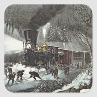 American Railroad Scene, 1871 Square Sticker