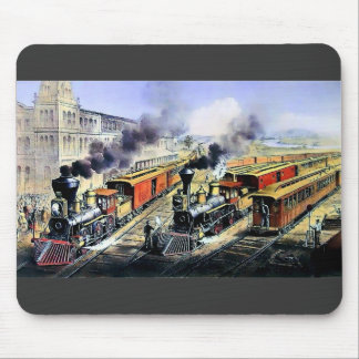 American railroad steam engine trains mouse mat