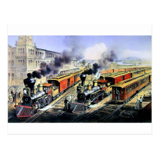 American railroad steam engine trains postcard